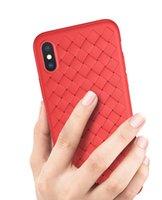 couverture d'iphone tricotée achat en gros de-Top qualité de tissage des lignes en cuir tricoté mince ultra-mince TPU téléphone housse pour iPhone XS Max XR X 6S 7 8 Plus Samsung S9 Plus Note 9