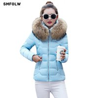 Wholesale Fake Fur Clothing - New Fake fur collar downParka cotton jacket 2017 Winter Jacket Women thick Snow Wear Coat Lady Clothing Female Jackets Parkas