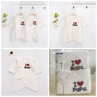 Wholesale Newborn Cotton Butterfly - I love daddy mummy funny baby boy girls Autumn Winter newborn infant romper bodysuit outfit butterfly bathing clothing