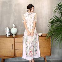 Wholesale long sleeved cheongsam - New improved Cheongsam short sleeved embroidered dress lace woman Asian retro style long fashionable dress Qipao Folk style Ethnic Ao Dai