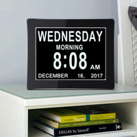 """Wholesale large digital lcd clock - 8"""" LCD Digital Calendar Day Clock with Large Clear Time Day and Date display, Wall hanging or Desk Shelf clock ideal for Impaired Vision"""