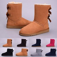 Wholesale faux leather ladies online - Women WGG Australia Winter boots kneel half Boots Ankle Black Grey brown chestnut navy blue red Women lady girl boots eur
