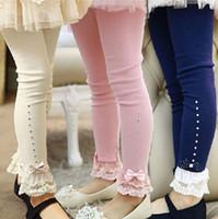 Wholesale solid children leggings tights resale online - Spring flower girl pants baby girl leggings kids cotton fashion leggings children autumn pant babg girls cute bow pants