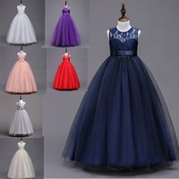 Wholesale cheap purple christmas stockings - Navy Blue Lace Top Cheap Flower Girl Dresses 2018 In Stock Princess A Line Sleeveless Kids Gown Toddler First Communion Dress with Bow Sash