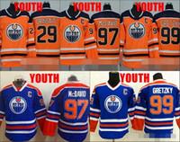 turuncu hokey toptan satış-Gençlik 97 Connor McDavid Formaları Edmonton Oilers 29 Leon Draisaitl 99 Wayne Gretzky Hokeyi Formaları Yeni Turuncu Çocuk Erkek Dikişli Formalar