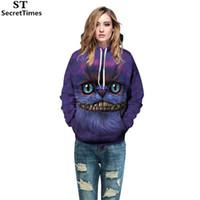 lila katzenhut großhandel-SecretTimes Männer / Frauen Hooded Hoodies Drucken Lila Cat Space Galaxy 3D Sweatshirts Mit Hut Herbst Winter Dünne Hoody Tops