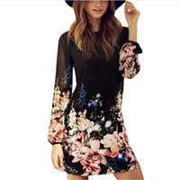 свадебные платья оптовых-Wholesale- Women Sexy Summer Dresses Floral Print Long Sleeve Chiffon Evening Party Beach Dress S-XL