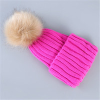 Wholesale large faux fur hats - Winter Faux Fur pom Hat Real Large Raccoon Fur Pom Pom Beanie Winter Hats For Women Skullies Warm Gravity Falls Cap Gorros Female