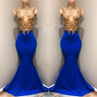 Wholesale Keyhole Top - Modest African Gold Top Lace Appliqued Prom Dresses 2018 High Neck Mermaid Sequins Royal Blue Sleeveless Sheer Evening Gowns BA8174