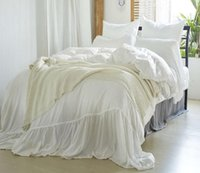 Wholesale ruffled bedding queen for sale - Washable Solid Color Bedding Set Microfiber Bedclothes Nordic Style Duvet Cover Set Bed Sheet
