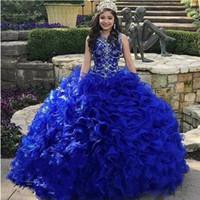 organza royal toptan satış-Ücretsiz Ücret Taç vestidos 15 anolar ile Katmanlı Basamaklı Ruffles Royal Blue Quinceanera Modelleri Mücevher Boyun Kristal Organze Sweet 16 Giydirme