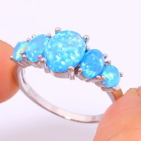 Wholesale silver blue opal ring - 925 Sterling Silver Ring for Women Blue Fire Opal Wedding Party Jewelry Ring Fast Free Shipping