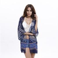 plaj örtüsü deseni toptan satış-Kadın Şifon Pelerin Plaj Güneş Koruyucu Giymek Çiçek Desen Şal Kimono Hırka Tarzı Rahat Şifon Ceket Cover Up Bluz