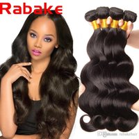 Wholesale human hair factory outlet resale online - 4Pcs Rabake Top Quality Human Hair Body Wave Natural Weave Hair Bundles Remy Extensions Factory Outlet Price A Grade