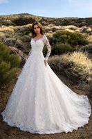 Discount sexy winter formal dresses - 2019 Long Sleeve Lace Wedding Dresses Sexy V Neck Backless Bridal Formal Gown Elegant Hot Sale Wedding Dress for Bride