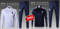 Wholesale Child Sweaters - 2018 FRANCE SOCCER jacket kids tracksuits POGBA CHILD SWEATER soccer chandal football tracksuit adult training suit skinny pants Sports