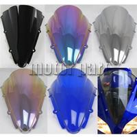 pára-brisa azul para motocicleta venda por atacado-Defletores de tela do vento do pára-brisa da motocicleta WindScreen para 2000 2001 00 01 Yamaha YZF 1000 R1 YZF-R1 Irídio azul
