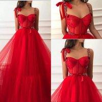 festzug kleider größe 14 mädchen großhandel-Prinzessin Red Crystals Langer Abschlussball kleidet 2019 eine Linie plus Größen-Tulle-arabische afrikanische Mädchen-Festzug-Kleider formale Abend-Partei-Kleid