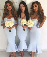 Wholesale Champagne Color Tea Dress - Light Sky Blue Lace Country Bridesmaids Dresses Off The Shoulder Wedding Guest Dress With Short Sleeves High Low Maid Of Honor Gowns