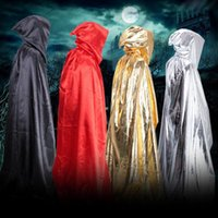 ingrosso cappello nero cosplay-wizard Cosplay Costumi con cappuccio Gothic Hooded Cape Solid Black Red Festival Halloween Party Cloak Free Size