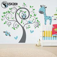 baykuş yatak odası çıkartmaları toptan satış-Büyük Baykuş Ağacı Zürafa Hayvan Vinil Duvar Sticker Kreş Çocuk Bebek Odası Çıkartması Etiketler 220x250 cm