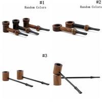 tabaco de pipa doblada al por mayor-Pipa de fumar de madera 90 mm 105 mm tabaco cigarrillos hechos a mano Cigar Pipes Classic Bent Pipes regalo 3 estilos OOA5052
