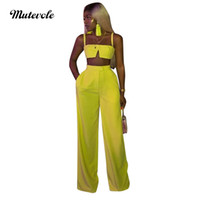 zweiteilige top-hosen beiläufig großhandel-Mutevole Sommer Casual 2-teiliges Set Damen Crop Top und Hosen Outfits Zweiteiliges Set Spaghettibügel Tank Weites Bein Hosen Set