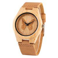 kızlar için deri saatler toptan satış-Bambu Ahşap Kadın Saatler Yaratıcı Kelebek Arama Hakiki Deri Kayış Kuvars Doğa Ahşap Bayanlar İzle Analog Saat Kız Hediye