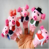 mini hayvan parmak kuklaları toptan satış-5 Küçük Domuzlar Kuklalar parmak kuklaları Çocuk Eğitici Oyuncak Oğlan kız Erkek Kız için kız parmak kukla Oyuncak Erkek kız