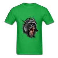 крутые пользовательские футболки оптовых-Awesome Cool Angry Gorilla Print Men Black T Shirts 100% Cotton Male Custom Animal Portrait 3D Short Sleeve T-shirt