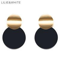 beyaz diskler toptan satış-LILIEWHITE 2018 Iki Pürüzsüz Eğri Bükülmüş Disk Bırak Küpe Altın Renk Ve Siyah Kaplama Metal Küpe Kadınlar Takı Için HC