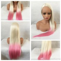 Wholesale straight pink cosplay wig online - Sexy Cosplay Party Wigs Ombre Blonde Pink Long Silky Straight Wigs Heat Resistant Glueless Synthetic Lace Front Wigs for Black Women