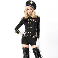 Wholesale police woman cosplay resale online - Carnival Theme Costume Black General Costume Halloween Sexy Cosplay Admiral Fancy Dress with Hat Sexy Police Outfits