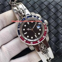 Wholesale head gems - 3 Color Luxury High Quality Watch 40mm 116610 Diamond Bezel Skull Head Carved Bracelet Asia 2813 Movement Mechanical Automatic Mens Watches