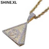 ägyptischen pyramide halskette groihandel-Hip Hop Gold Überzogene Ägyptische Pyramiden Halskette Anhänger Iced Out Micro Pave CZ Stein Auge des Horus Halskette für Männer Frauen