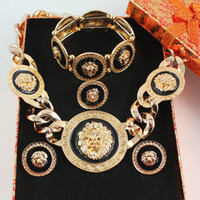 Wholesale lion earrings necklace sets - whole saleNew Vintage Black Enamel Lion Head Myth Medusa Pendant Necklace Earrings Bangle Ring Fashion Party Jewelry Set 2 Colors