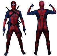 deadpool costume toptan satış-Drop Shipping Evren Klasik Kas Göğüs Deadpool Kostüm Tam Bodysuit Zentai Suits Çocuklar 3D Stil Cosplay Hood Ayrılmış