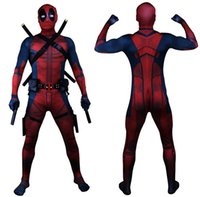 Wholesale deadpool costume for sale - Drop Shipping Universe Classic Muscle Chest Deadpool Costume Full Bodysuit Zentai Suits Kids D Style Cosplay Hood Separated
