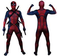 deadpool costume venda por atacado-Transporte da gota Universo Clássico Peito Muscular Deadpool Traje Completo Bodysuit Zentai Ternos Crianças 3D Estilo Cosplay Capuz Separado