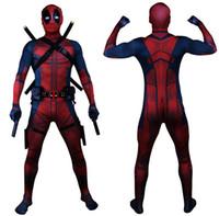 deadpool costume großhandel-Tropfen-Verschiffen-Universum-klassischer Muskel-Kasten Deadpool-Kostüm-voller Körper Zentai-Klage-Kinder-Art-Cosplay Haube 3D getrennt