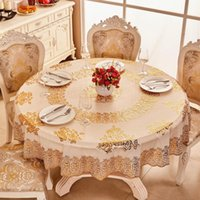 Wholesale round crochet tablecloth - Fashion waterproof oilproof table cloth wipe clean European style table cover elegant round home dining tablecloth