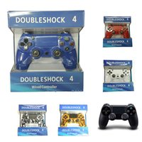Wholesale Usb Game Pad - PlayStation 4 PS4 Wired Game Controller Gamepad Golden Camouflage Joystick Game Pad Double Shock USB Controller Console with Retail Box 1pcs