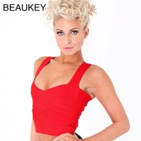 Wholesale Rayon Tank Top L - Red White Black Rayon 2017 New Women Sexy Knitted Elastic Bandage Crop Tops Tanks