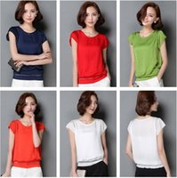 Wholesale Ladies Party Blouses - Elegant Ladies Similar Silk Blouses Short Sleeve Hollow-Out Work Formal Party Shirt Candy Color Summer Casual Blouse Top S-3XL JCG1202