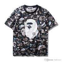 camisas luminosas al por mayor-Venta al por mayor nuevo Luminous Star Camo manga corta T-Shirts Tide Brand Ppersonality algodón Camisetas tamaños M-2XL envío gratis