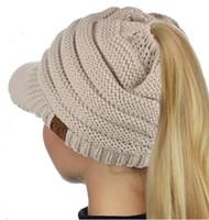 Wholesale Knit Visor Hat Women - New CC Beanietail Warm Knit Messy High Bun Ponytail Visor Beanie Cap Ponytail Beanie Baseball Cap Back Hole Pony Tail Hat