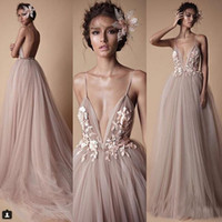 Wholesale Spring Maternity Outfits - 2018 Latest BERTA Prom Dresses Evening Wear Champagne Tulle Lace Floral Spaghetti Backless Formal Masquerade Ball Outfit