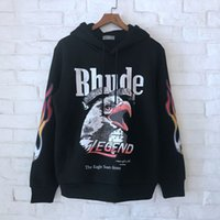 kapuzen-sweatshirts dick großhandel-2018 Beste Qualität Rhude Eagle Printed Frauen Männer Hoodies Sweatshirts Hiphop Streetwear Männer Dicke Hoodie Pullover Fleece