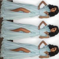 zuhair murad mavi şifon uzun toptan satış-Akşam elbise Labourjoisie Uzun Elbise Rrffle Kapalı Kollu V Yaka Mavi Şifon Bölünmüş A-Line Zuhair murad Kim kardashianewelue