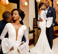 Wholesale bell gowns resale online - Sexy Plunging Neckline Mermaid Wedding Dresses with Long bell Sleeves Zipper Back Vintage african nigerian fishtail Wedding Gowns